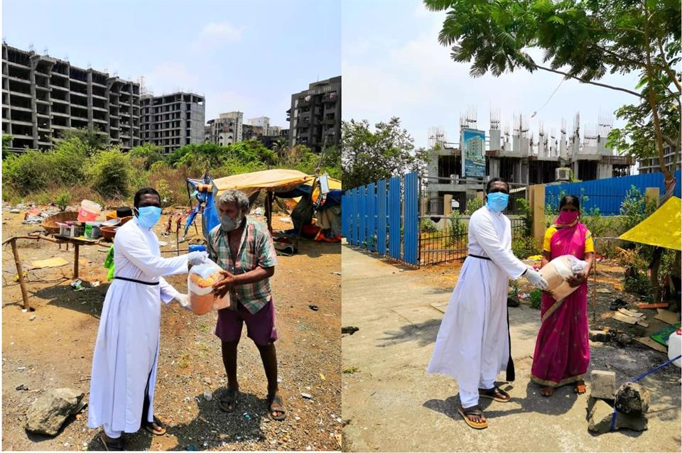 First day distribution of grocery bag's at Panvel