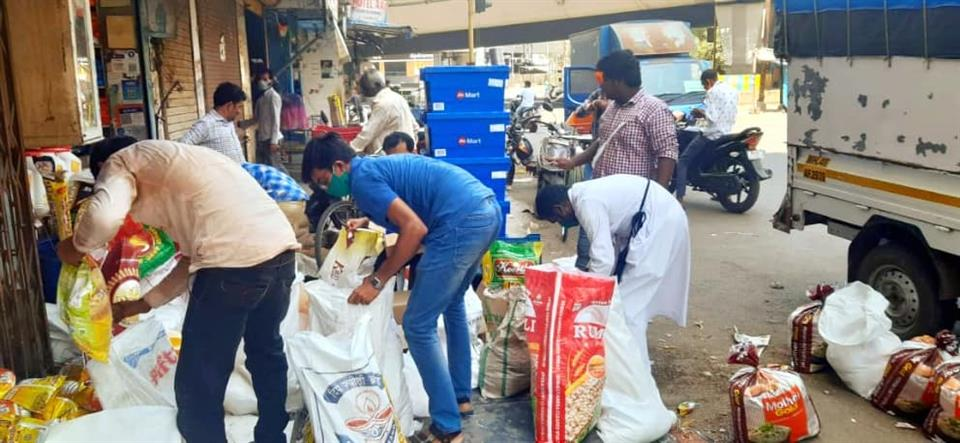 Sixth day distribution of grocery bag's at  Nerul